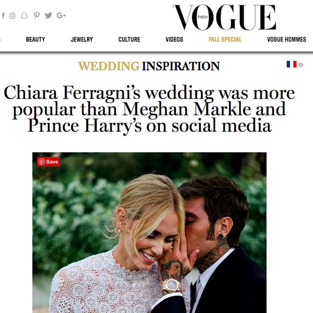 Vogue khẳng định: Đám cưới của Chiara Ferragni hot hơn cả đám cưới cổ tích của hoàng tử Harry và Meghan Markle! - Ảnh 3.