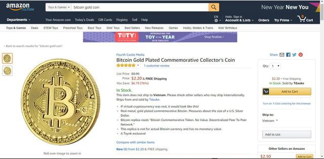 Đồng xu bitcoin mạ vàng được rao bán trên trang Amazon.