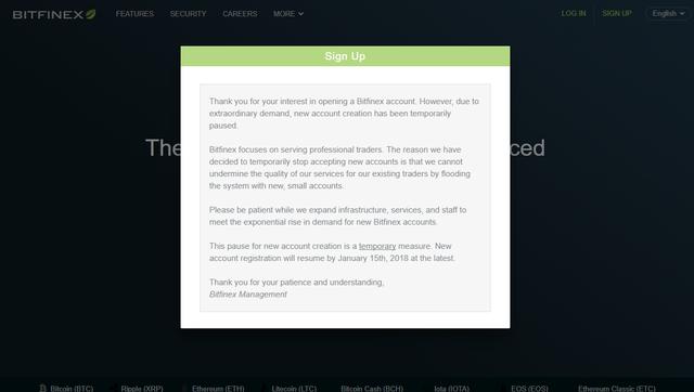 Thông báo đóng cửa sổ đăng ký tài khoản mới trên Bifinex