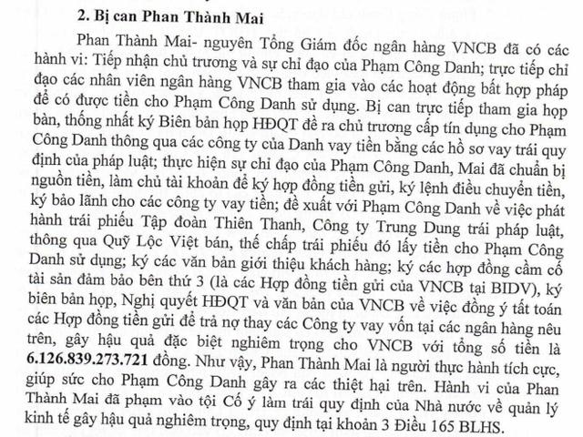 Toàn văn phần cáo trạng liên quan đến tội danh của bị cáo Phan Thành Mai