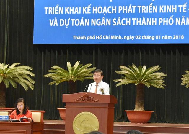 Chủ tịch UBND TP HCM Nguyễn Thành Phong phát biểu tại hội nghị ngày 2-1-2018