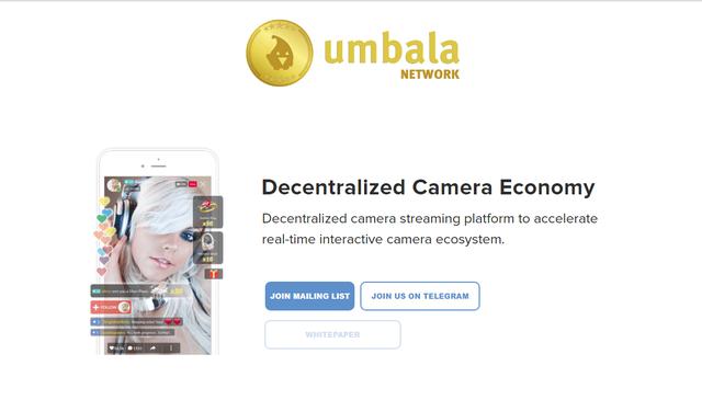 Trang landing page ICO của Umbala