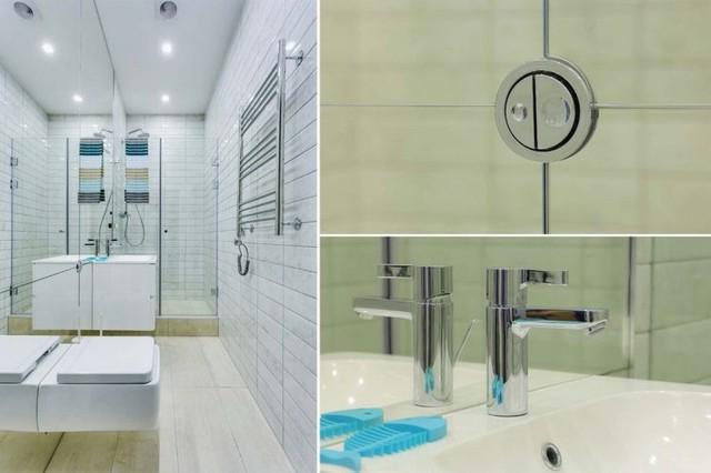 Nhà tắm và vệ sinh tuy nhỏ nhưng được trang bị nhiều nội thất hiện đại.