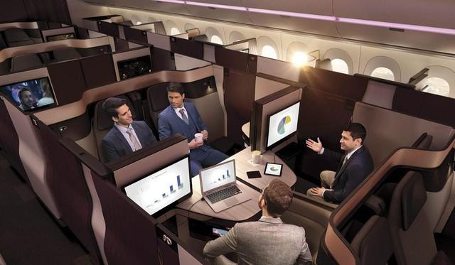Khoang thương gia trên máy bay Qsuite, Qatar Airways.
