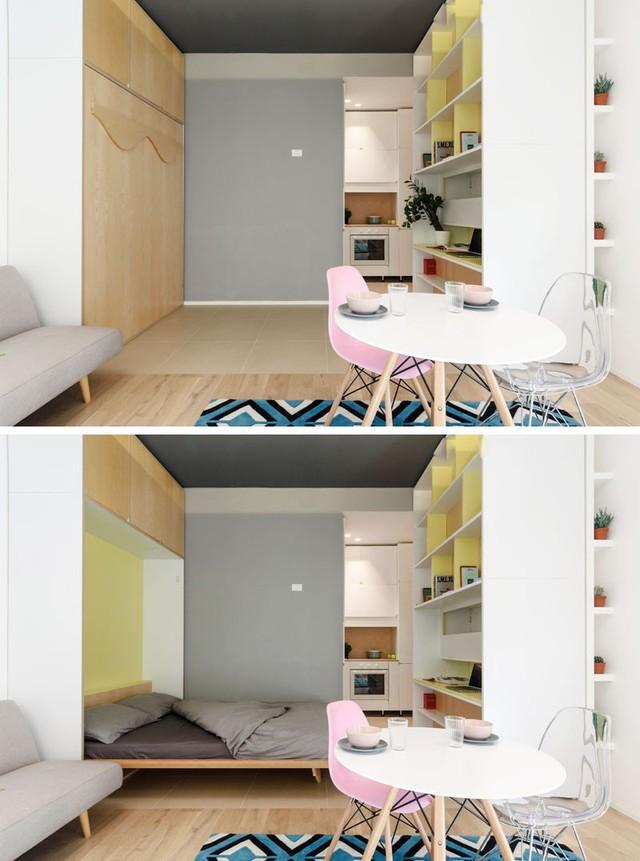 Khi chiếc tủ được kéo áp sát vào bức vách sẽ để lại một khoảng không rộng thoáng và lúc này một không gian nghỉ ngơi lý tưởng xuất hiện. Chiếc giường ngủ được thiết kế gấp gọn trong chiếc tủ gỗ.
