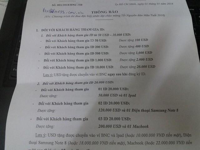Tài liệu quảng bá về tiền ảo BNC và thông báo về chương trình thi đua do sàn BNC đưa ra với người tham gia