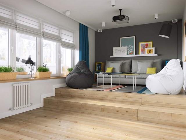 Với những căn hộ nhỏ có lợi thế về chiều cao trần nhà, bạn cũng có thể thiết kế sàn giật cấp vừa giúp phân vùng rõ rệt các không gian trong nhà đồng thời có thể cất gọn chiếc giường ngủ to lớn vào bên trong.
