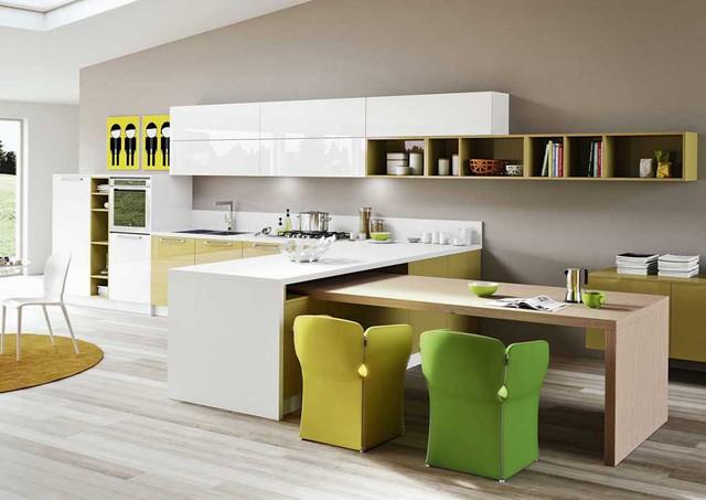 Chất liệu này có khả năng uốn cong nên thích hợp với mọi không gian bếp.