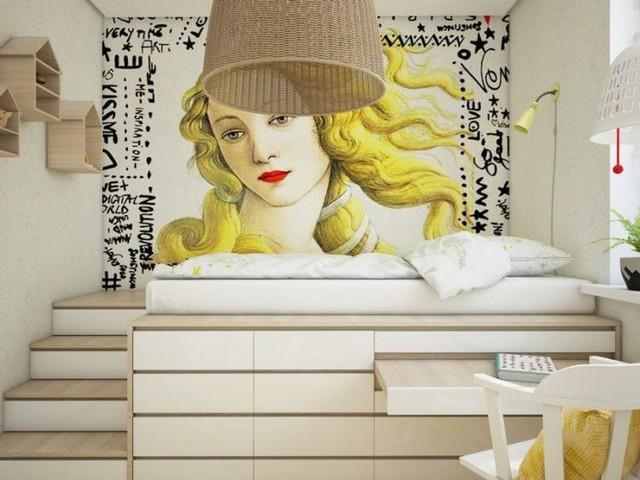 Chiếc giường ngủ cũng có thể được bố trí lên cao với bao quanh là những ngăn kéo đựng đồ thuận tiện, thậm chí có thể là bàn học hoặc bàn làm việc xinh xắn.