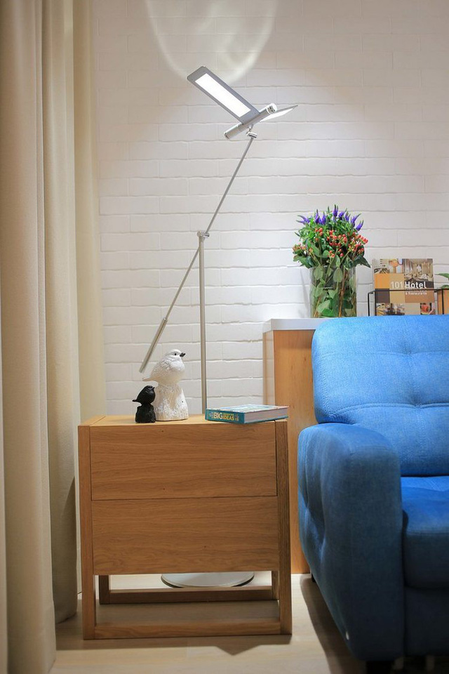 Cạnh ghế sofa là một chiếc tủ gỗ nhỏ để đồ và cũng là nơi để trang trí cho căn hộ.
