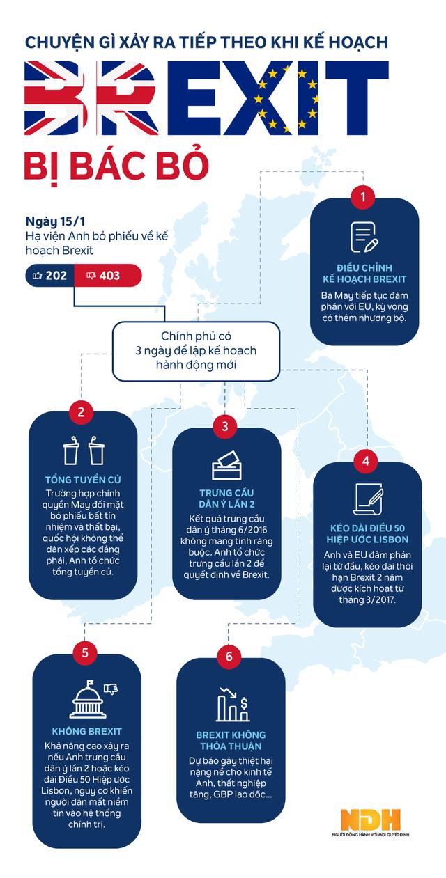[Infographic] Kế hoạch Brexit bị quốc hội bác, Anh làm gì tiếp theo? - Ảnh 1.