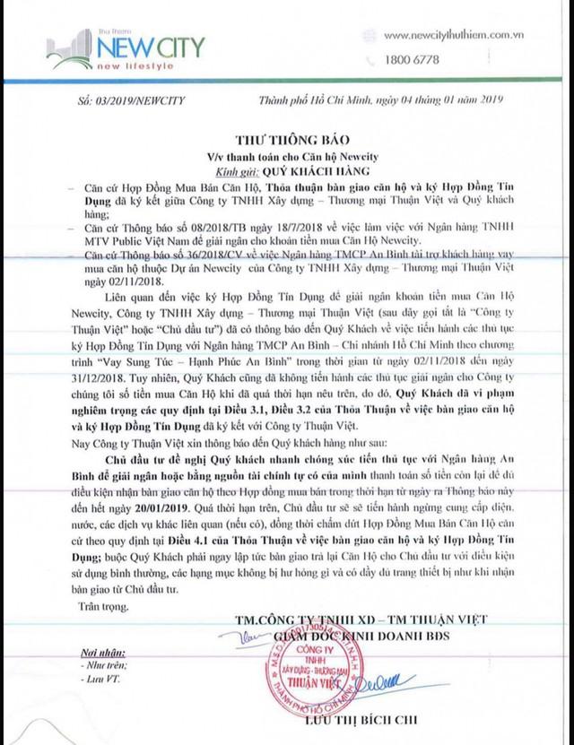 Chủ đầu tư Thuận Việt doạ đuổi cư dân New City ra đường ăn Tết - Ảnh 2.