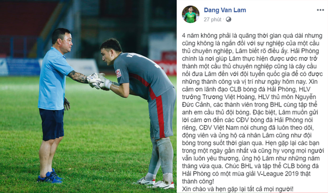 Văn Lâm về Hải Phòng nghẹn ngào tạm biệt đội bóng cũ - Ảnh 1.