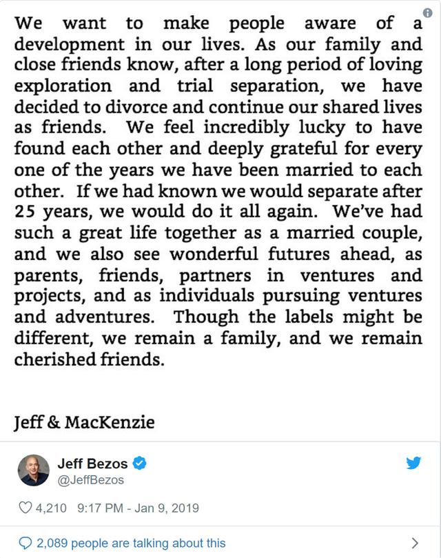 Tỷ phú Jeff Bezos và vợ ly dị sau 25 năm chung sống - Ảnh 1.