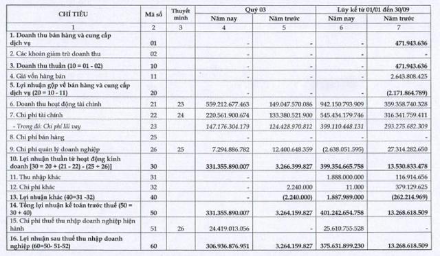 Công ty mẹ CII: Quý 3 lãi 307 tỷ đồng cao gấp hơn 90 lần cùng kỳ - Ảnh 2.