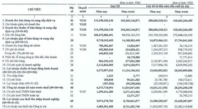 Everland (EVG): Chi phí giá vốn tăng cao, LNST 9 tháng giảm sâu 45% so với cùng kỳ - Ảnh 1.