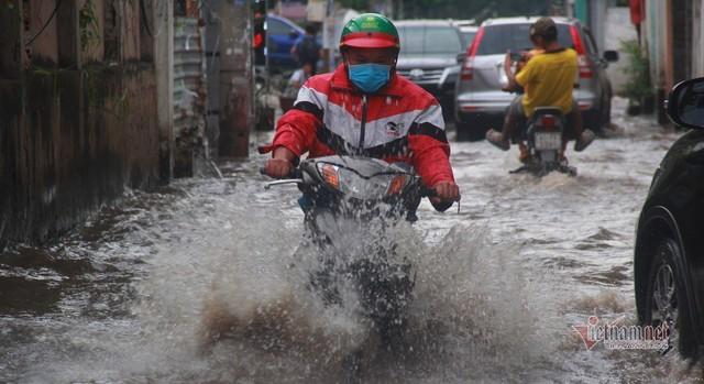 Triều cường ngấp nghé đỉnh, khu nhà giàu Sài Gòn dập dềnh sông nước - Ảnh 2.