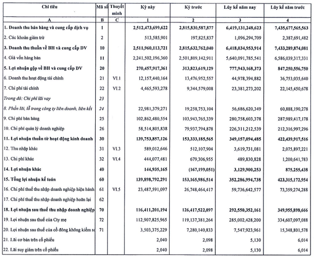 May Việt Tiến (VGG): 9 tháng lãi 292 tỷ đồng giảm 16% so với cùng kỳ - ảnh 2