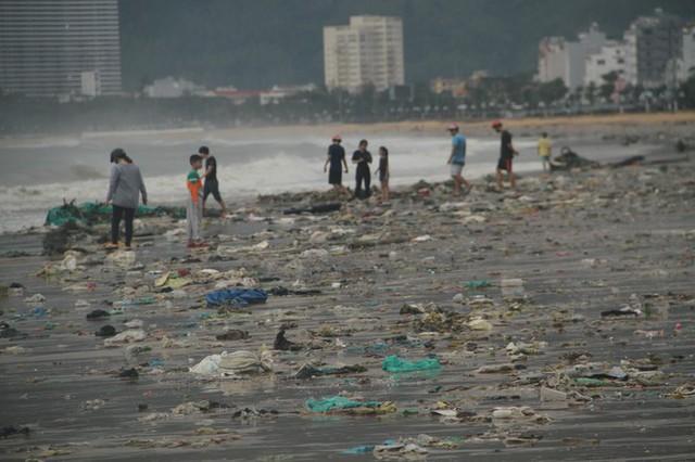 Sau bão số 5, cây cối đổ ngổn ngang, bãi biển Quy Nhơn ngập ngụa rác - Ảnh 12.