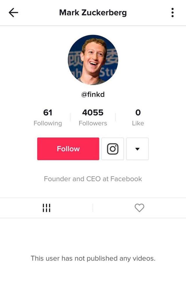 Tìm được tài khoản TikTok bí mật của Mark Zuckerberg, chuyên theo dõi người nổi tiếng và chó - Ảnh 1.