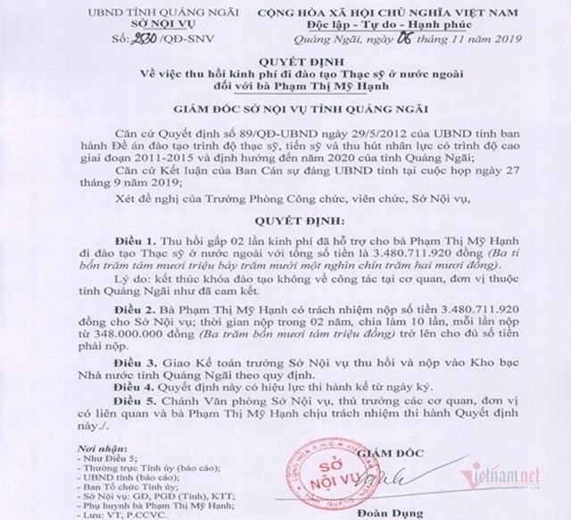 Quan chức Quảng Ngãi phân trần việc con du học bằng ngân sách không về - Ảnh 1.