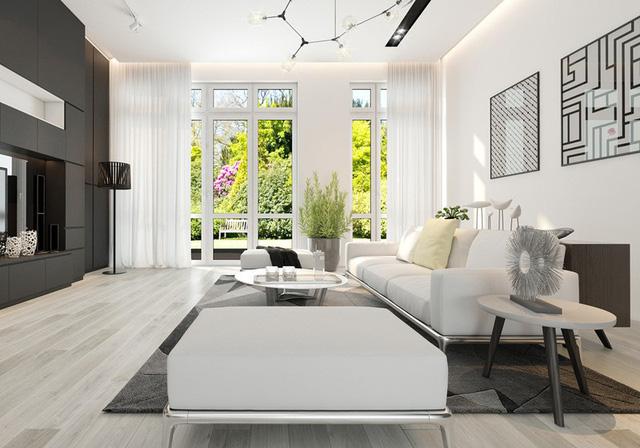 Ngôi nhà có nội thất hai màu đen trắng tuyệt đẹp - Ảnh 1.