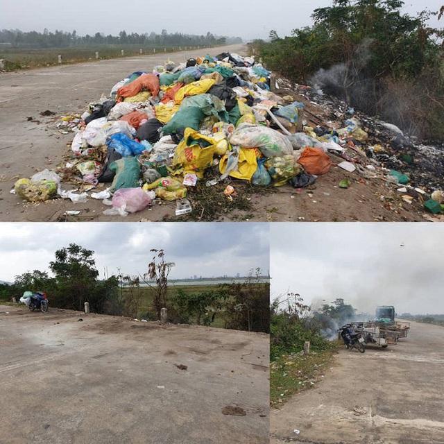 Rác thải chất đống trên đê chống lũ ở Hà Tĩnh: Chính quyền vào cuộc xử lý - Ảnh 1.