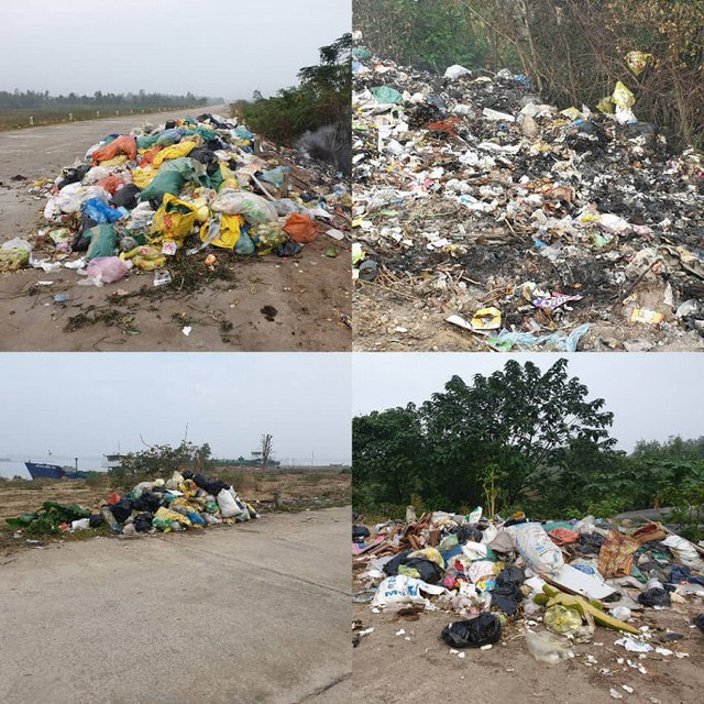 Rác thải chất đống trên đê chống lũ ở Hà Tĩnh: Chính quyền vào cuộc xử lý - Ảnh 2.