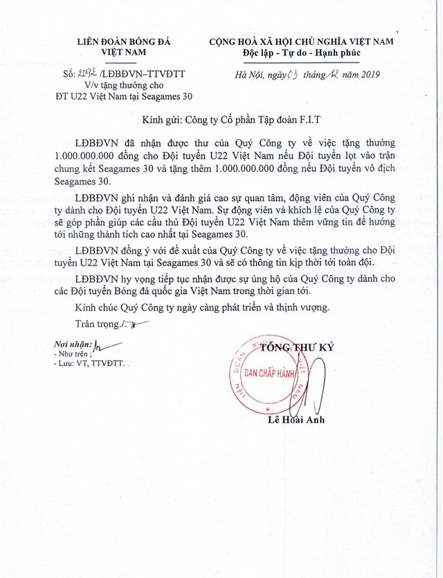Fit Group tặng thưởng 2,4 tỉ đồng cho bóng đá Việt - Ảnh 1.