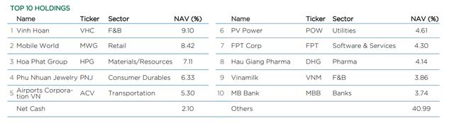 Tăng trưởng tài sản ròng của 2 quỹ Dragon Capital tháng 1 đều thua VN-Index, tiếp tục âm tiền mặt - Ảnh 4.