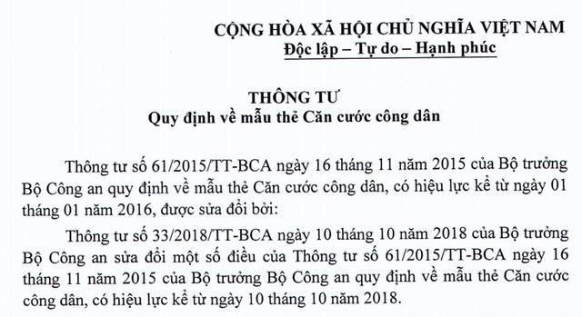 Bộ Công an hợp nhất quy định về thẻ Căn cước công dân - Ảnh 1.