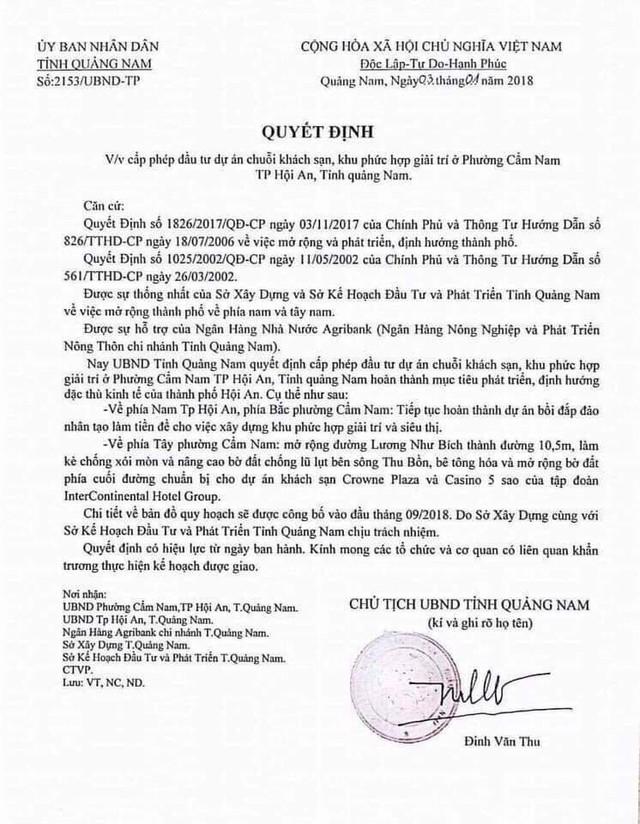 Không có chuyện Quảng Nam ra văn bản phê duyệt đầu tư chuỗi khách sạn 5 sao ở Hội An - Ảnh 1.