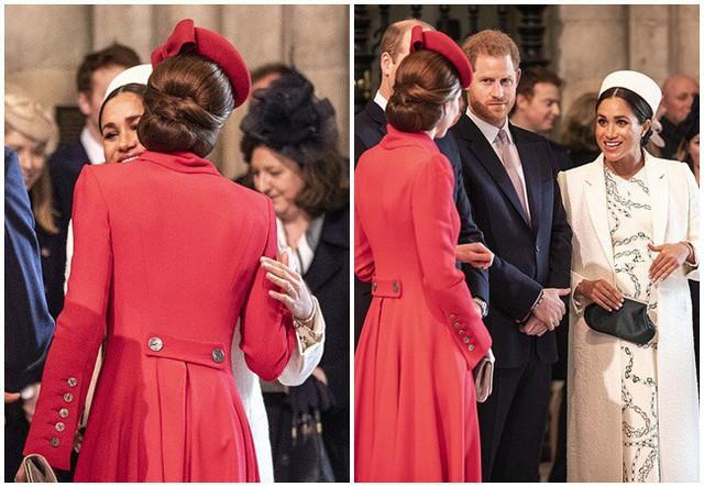 Chạm mặt lần thứ 2, Meghan và chị dâu bất ngờ ôm hôn nhau thắm thiết nhưng sau đó vẻ mặt của Công nương Kate mới là điều khó hiểu - Ảnh 4.
