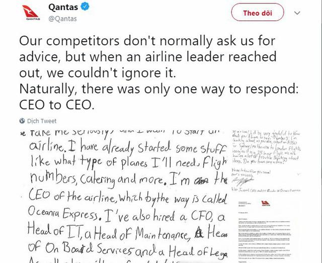 """""""Choáng"""" trước ước mơ làm giàu khi xin bí quyết mở hãng hàng không của cậu bé 10 tuổi nhưng câu trả lời của CEO Qantas mới khiến nhiều người thích thú! - Ảnh 3."""