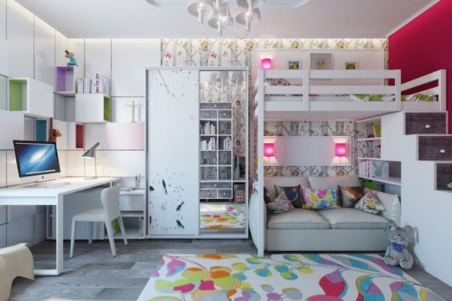 Cách kiến trúc phòng ngủ tươi sáng và ngập tràn sắc màu cho trẻ - Ảnh 3.