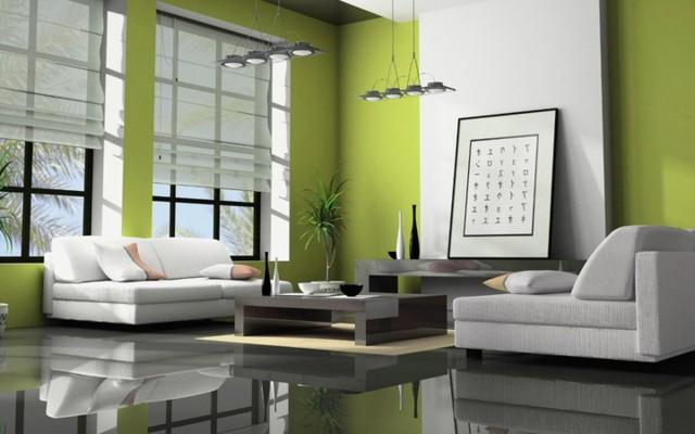 Phòng khách có màu xanh lá cây tạo cảm giác gần gũi có môi trường xung quanh - Ảnh 6.