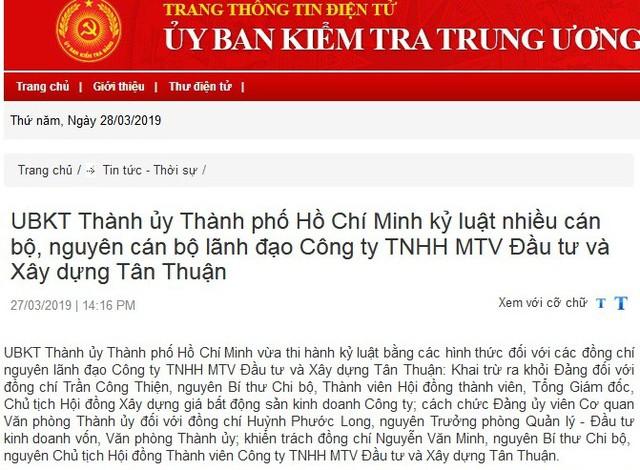 UBKT Thành ủy TPHCM, UBKT Tỉnh ủy Long An thi hành kỷ luật cán bộ - Ảnh 1.