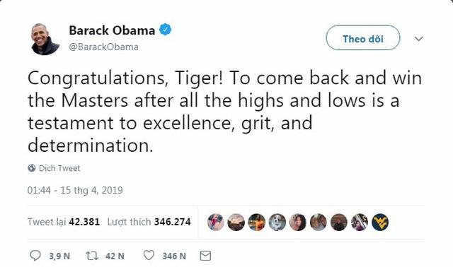 Tổng thống Trump, Obama và hàng loạt ngôi sao hân hoan chúc mừng chiến thắng của huyền thoại golf Tiger Woods trong giải Master 2019 - Ảnh 2.