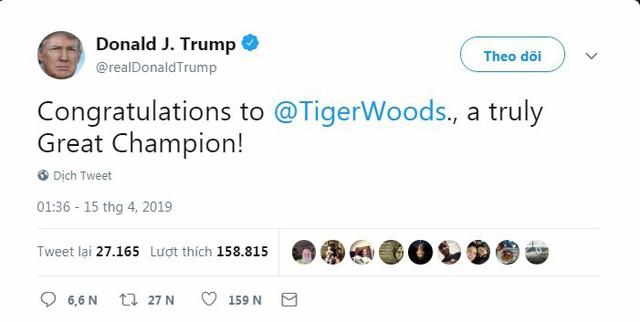 Tổng thống Trump, Obama và hàng loạt ngôi sao hân hoan chúc mừng chiến thắng của huyền thoại golf Tiger Woods trong giải Master 2019 - Ảnh 1.