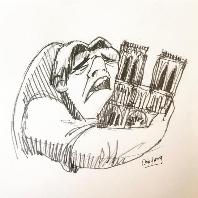 Người dân khắp thế giới đồng loạt chia sẻ những bức vẽ cầu nguyện cho Nhà thờ Đức Bà Paris sau vụ cháy - Ảnh 1.