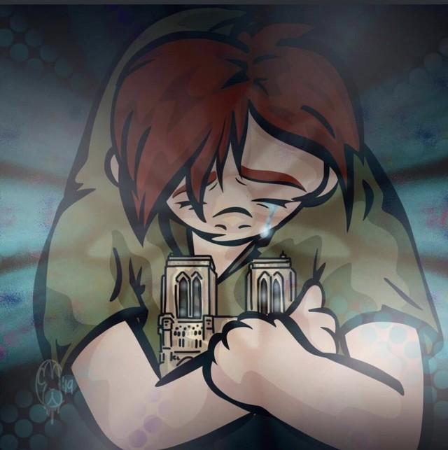Người dân khắp thế giới đồng loạt chia sẻ những bức vẽ cầu nguyện cho Nhà thờ Đức Bà Paris sau vụ cháy - Ảnh 3.