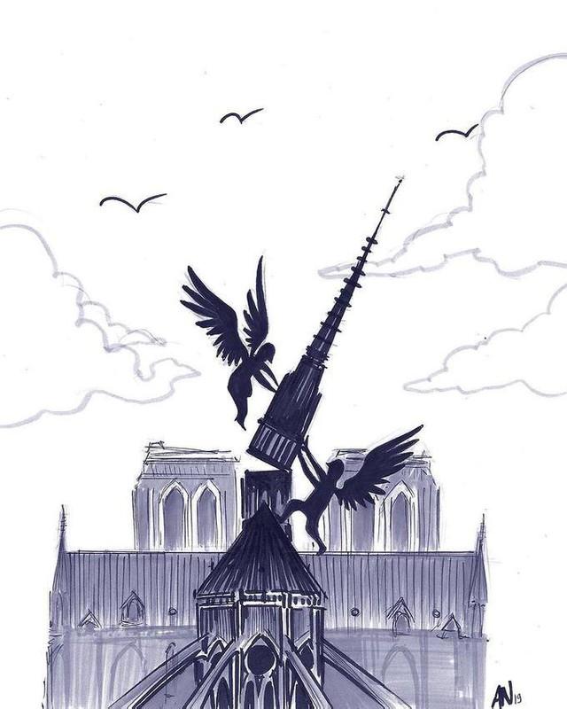 Người dân khắp thế giới đồng loạt chia sẻ những bức vẽ cầu nguyện cho Nhà thờ Đức Bà Paris sau vụ cháy - Ảnh 9.
