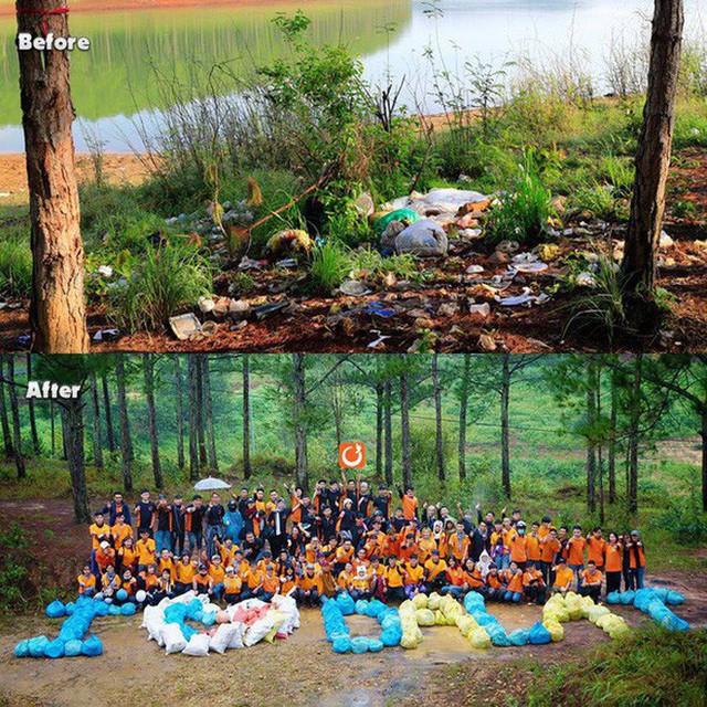 Thử thách dọn rác phiên bản lôi kéo đông vui nhất: 100 người nhặt cả tấn rác ở bãi sông Hồng, xử lý 90% rác khổng lồ ở Sơn Trà - Ảnh 1.