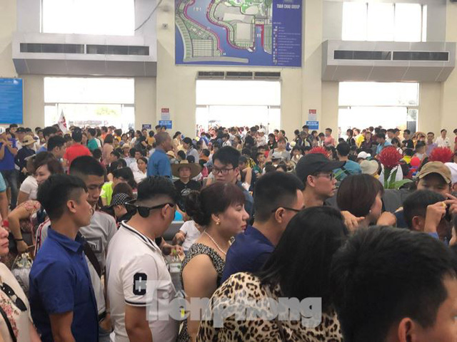 Chen chân mua vé tham quan vịnh Hạ Long bất chấp mưa tầm tã - Ảnh 7.