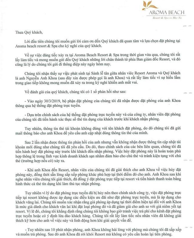 Resort Aroma phản hồi chính thức về việc bị tố lừa đảo, đe dọa Khoa Pug: Sự hiểu lầm trong giao tiếp không mong muốn - Ảnh 3.