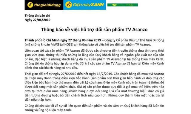 Sau Nguyễn Kim, đến lượt Điện Máy Xanh cũng thu đổi tivi Asanzo - Ảnh 1.