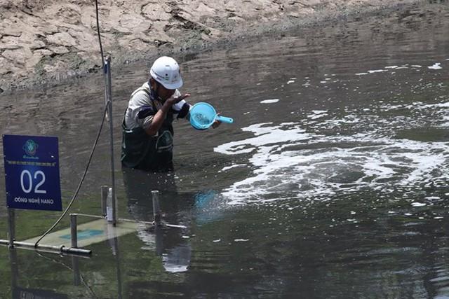 Chuyên gia Nhật Bản lội sông Tô Lịch khảo sát sau 20 ngày thí điểm làm sạch - Ảnh 3.