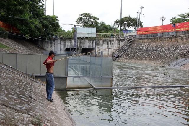 Cận cảnh nước sông Tô Lịch sau 2 ngày hồ Tây mở cửa xả nước - Ảnh 4.