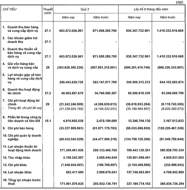Nam Long (NLG) đạt lãi ròng hợp nhất 284,5 tỷ sau nửa năm, đầu tư Việt Thiên Lâm đóng góp phân nửa
