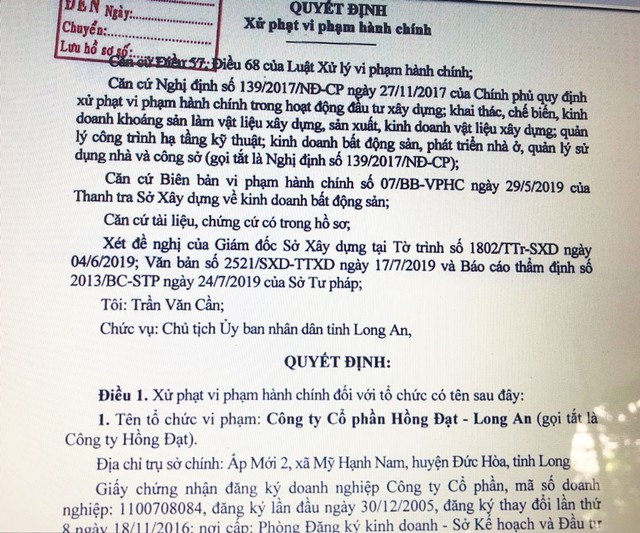 Một doanh nghiệp địa ốc ở Long An bị xử phạt do bán hàng không đủ điều kiện pháp lý - Ảnh 1.